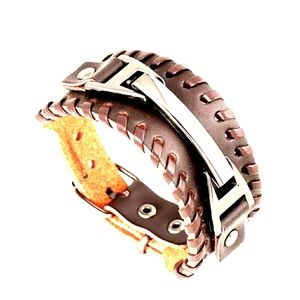 Brown leather gothic style bracelet